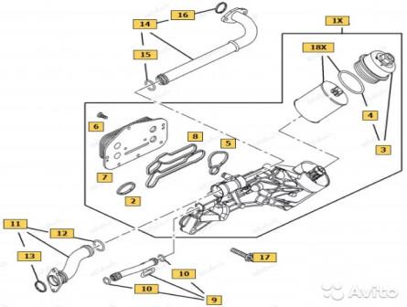 Набор прокладок теплообменника Opel Z16XER Z18XER