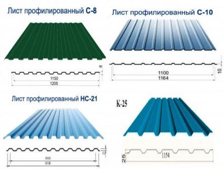 Профнастил С8, С10, С21, НС21, K25, HC35, HC44, H60 и H75 , для кровли и забора