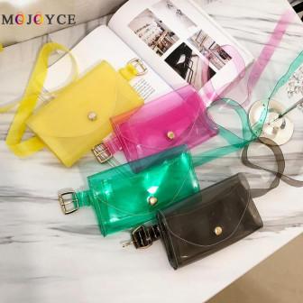 Летняя пляжная женская прозрачная цветная сумка