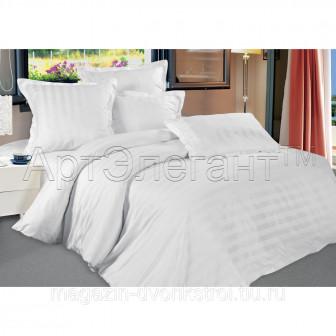 КПБ Белый Страйп сатин 2,0 спальный