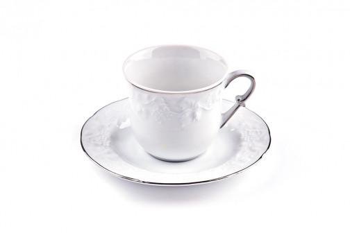 Набор чайных пар 200 мл 12пр VENDANGE PLATINE La Rose des Sables 699506 19
