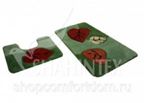 Набор ковриков для ванны SHAHINTEX SUPER ACRYLIC (3 D) 60100+6050 Листья (8) зеленый