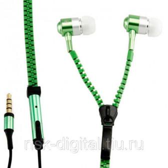 Наушники молния светящиеся с микрофоном зеленые