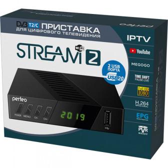 """ТВ-приставка Perfeo DVB-T2/C приставка""""STREAM-2"""" для цифр.TV, Wi-Fi, IPTV, HDMI, 2 USB, DolbyDigita"""