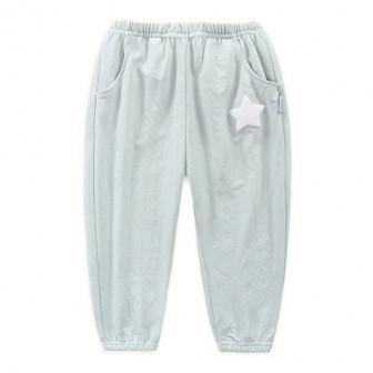 Легкие трикотажные летние штанишки. По бокам 2 втачных кармана. Принт в виде звезды. (55 хлопок, 45