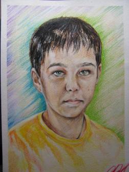 портрет по фото а-4 акварельными карандашами