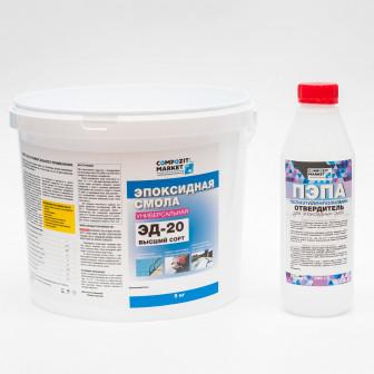 Эпоксидная смола Эд 20(5 кг) с отвердителем ПЭПА (500 гр)