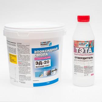 Эпоксидная смола Эд 20(1 кг) с отвердителем ТЭТА (100 гр)