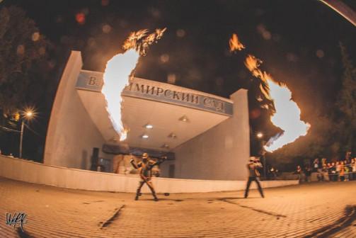 Фаер шоу, огнемёты. Дизель-панк шоу