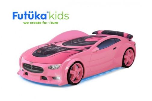 Кровать-машина объемная (3d) NEO Тесла розовый