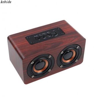 Деревянные HiFi bluetooth колонки Dual Speaker Shock Bass