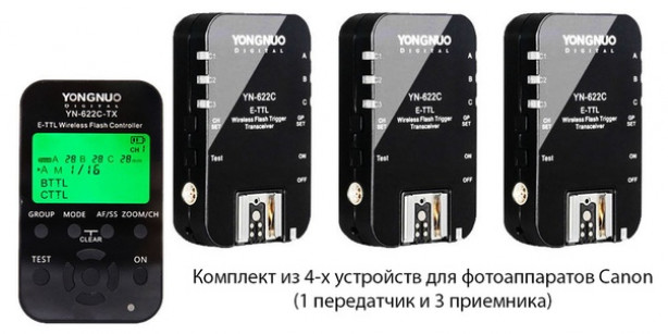 Радиосинхронизатор Yongnuo YN-622C-kit комплект для Canon