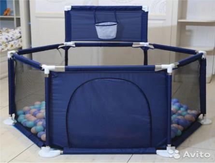 Манеж детский 66,5*128 см, синий, новый
