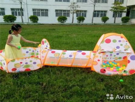 Домик-палатка детская 3 в 1 оранжевая