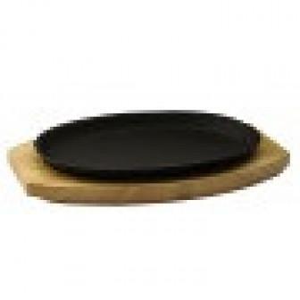 Сковорода 2417cм чугун, овальная на дер подставке