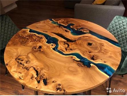 Круглый стол река из слэбов карагача
