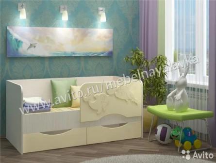 Детская кровать Дельфин-2 1,6 м ваниль
