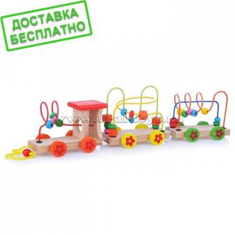 Деревянная игрушка D0383 'Паровозик' с лабиринтом, в коробке