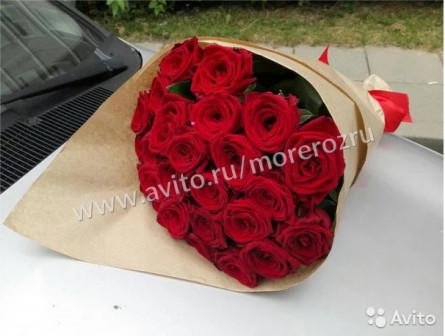 23 красная роза в крафте премиум класса