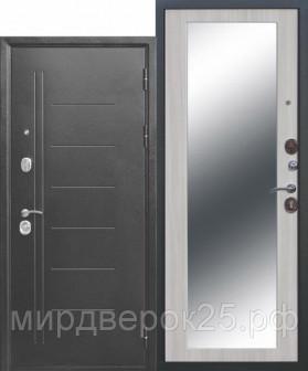Дверь металлическая Троя серебро цвет: Дуб сонома зеркало сталь 1,5мм