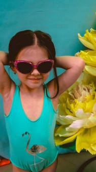 Одинаковые купальники для мамы и дочки Фламинго
