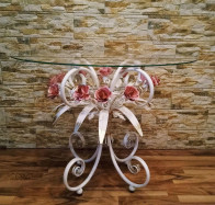 Стеклянный журнальный столик с розовыми розами С 107 WR