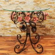 Стол журнальный стеклянный с коваными розами С 107 СС