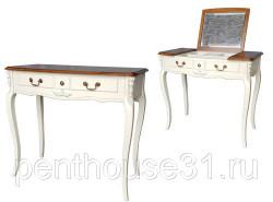 Туалетный стол с зеркалом, белый с эффектом старения топ итальянский орех 844276