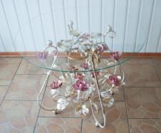Стол журнальный кованый с розовыми розами С155 WR