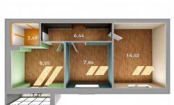 2-к квартира, 41.6 м², 2/3 эт.