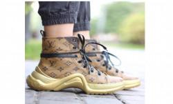Кроссовки высокие на шнурках лв коричневые