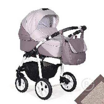 Коляска 2в1 Indigo ALMA Lux т.пудра кожа+розовый 5902719007606