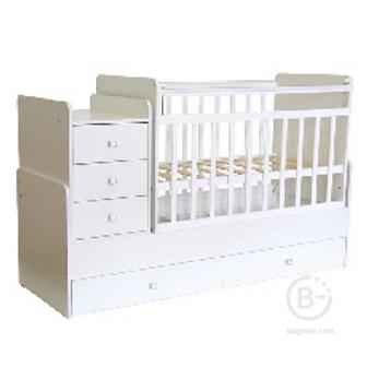 Кроватка детская ФЕЯ Белый,трансформер маятник,ящики 4610012355348
