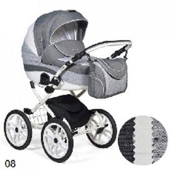 Коляска 2в1 Indigo Special Plus темно серый+серый+белая кожа 5902719004087