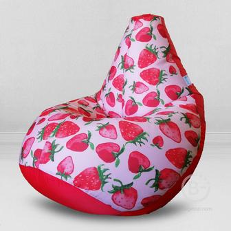 MyPuff кресло мешок Груша Клубника дивная, размер Стандарт, принтованный хлопок и оксфорд: b_597_025