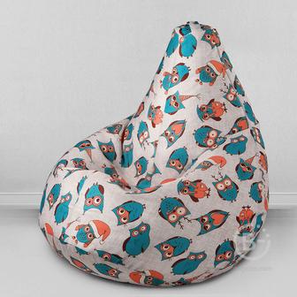 MyPuff кресло мешок Груша Новогодние совы, размер Стандарт, принтованный хлопок: b_578