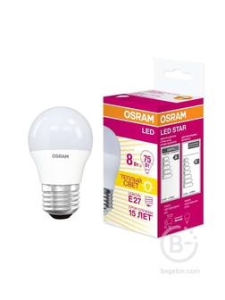 Лампа светодиодная LED STAR CLASSIC P 75 8W/830 8Вт шар 3000К тепл. бел. E27 806лм 220-240В матов. пласт. OSRAM 4058075210868