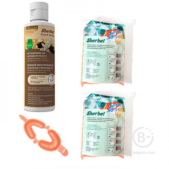 Комплект Sherbet: АПФ гель 500 мл (французская ваниль) и капы аппликационные (размер XL)