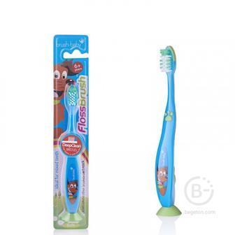Brush-Baby FlossBrush NEW зубная щётка, с 6 лет, голубая