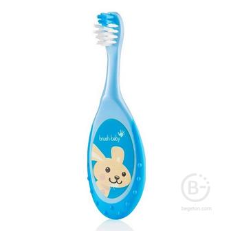 Brush-Baby FlossBrush зубная щетка, 0-3 года, голубая