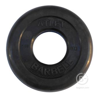 Диски 51 мм Диски обрезиненные, чёрного цвета, 51 мм, 1,25 кг, Atlet MB-AtletB51-1,25