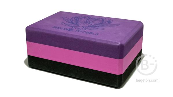 Блоки для йоги Блок для йоги трехцветный премиум в коробке Original FitTools FT-3DBLOCK