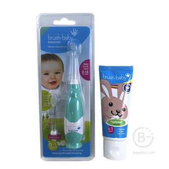 Комплект Brush-Baby от 0 до 3 лет: зубная паста и звуковая щетка