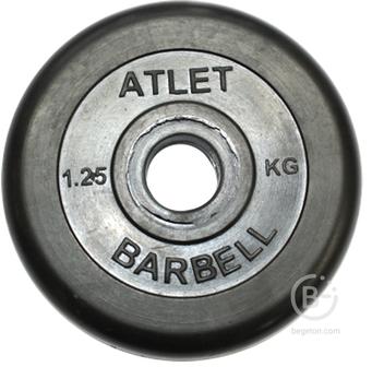 Диски 26 мм Диски обрезиненные, чёрного цвета, 26 мм, Atlet MB-AtletB26-1,25
