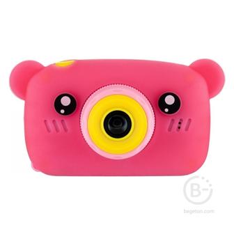 Детский цифровой фотоаппарат Children's Fun Camera мишка розовый Fun Camera