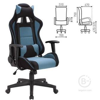 """Кресло компьютерное BRABIX """"GT Racer GM-100"""", две подушки, ткань, черное/голубое"""