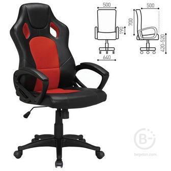 """Кресло компьютерное BRABIX """"Rider EX-544"""", экокожа черная/ткань красная"""