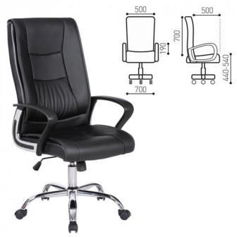 """Кресло офисное BRABIX """"Forward EX-570"""", хром, экокожа, черное"""