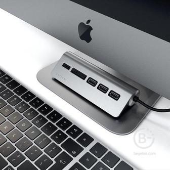 USB-концентратор  Satechi USB-C USB Hub и Micro/SD Card Reader, серый космос ST-TCHCRM USB-C USB Hub и Micro/SD Card Reader, серый космос