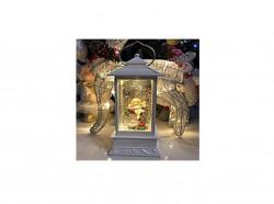 Декоративный фонарь с блестками внутри USB 30 см (Ангел на дереве)